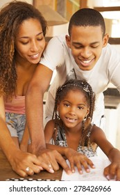African american family studying at home