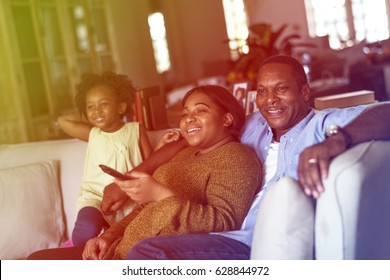 African American Family Watch TV House