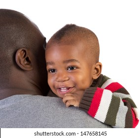 African American Father Holding Smiling Baby Boy Isolated on White Background