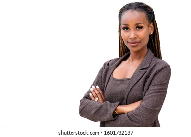 African American female company leader CEO boss executive standing confident with ambition and pride on white background