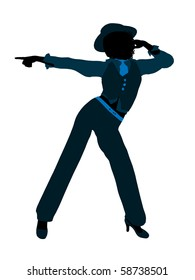 African american female jazz dancer illustration silhouette on a white background