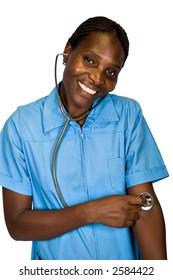 African American female nurse, stethoscope