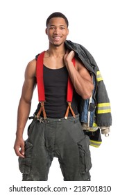 African American Firefighter Off Duty Standing portrait isolated on white Background