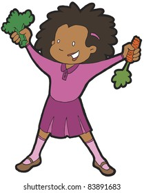 African American girl being healthy by eating vegetables, including broccoli and a carrot.