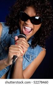 African American Girl Singing