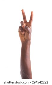 African american hand making peace  gesture - Black people