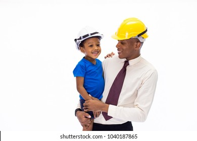 African American happy family of father and son wearing an engineering helmet together, like father like son or well education conccept