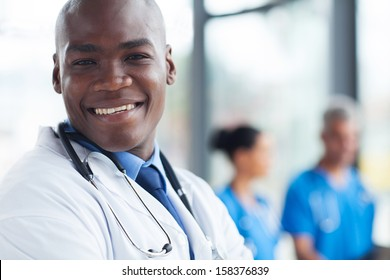 african american health care worker looking at the camera