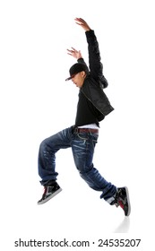 African American hip hop dancer over a white background