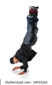 African American hip hop dancer performing with legs up