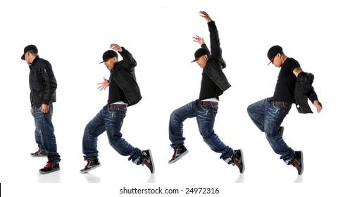 African American hip hop dancer in dance sequence