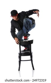 African American hip hop dancer on chair