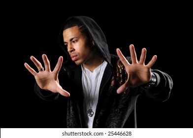 African American hip hop dancer with hands in foreground