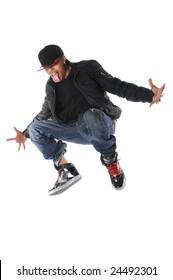 African American hip hop man jumping