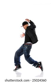 African American hip hop man dancing isolated over white
