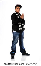 African American hip hop man posing isolated over white