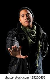 African American hip hop man extending hand