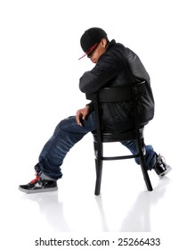 African American hip hop man sitting on chair