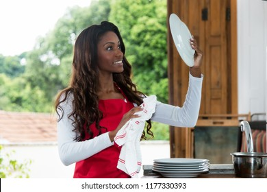 African american housewife cleaning plate at kitchen at home