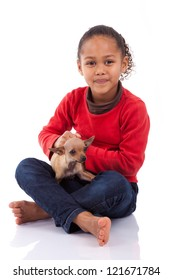 African American little girl with her pet, isolated on white background