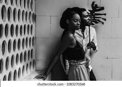 African American love couple. Happy relationship, smiling black people