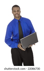 African American male businessman holding a laptop computer