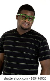 African American male wearing nerdy green glasses