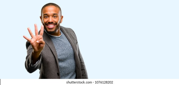 African american man with beard raising finger, is the number four isolated over blue background
