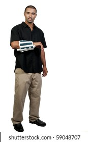 An African American man with a broken arm