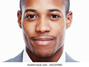 African American man close-up isolated white background.