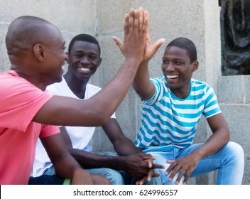 African american man give high five