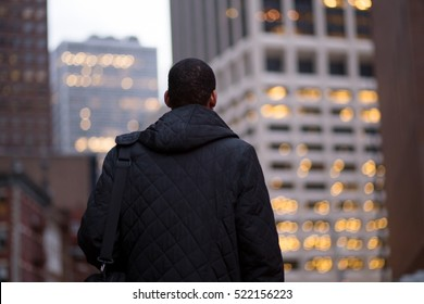 African American man going to work early in the winter morning - Shutterstock ID 522156223