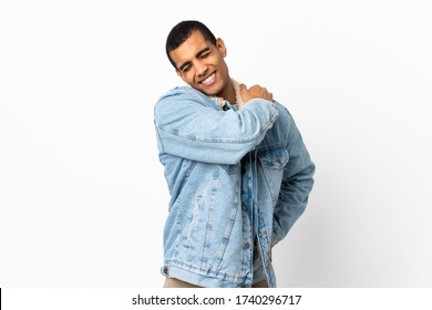 African American man over isolated white background suffering from pain in shoulder for having made an effort