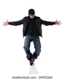 African American man performing hip hop style dancing