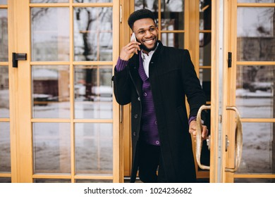 African american man with phone
