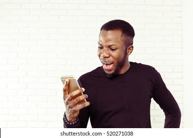African american man with samrtphone