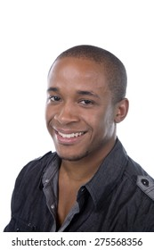 African American man smiles on white background