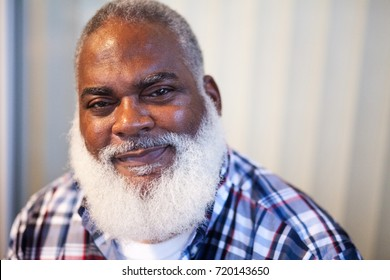 African American Man Smiling with White Beard