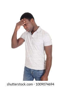 A African American man standing isolated for white background with