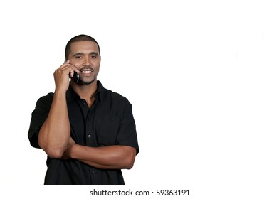 An African American man talking on the phone