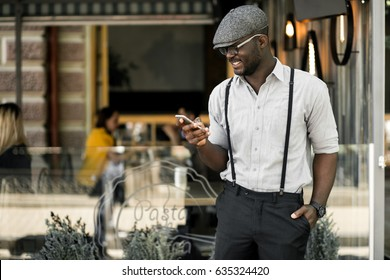 african american man using phone
