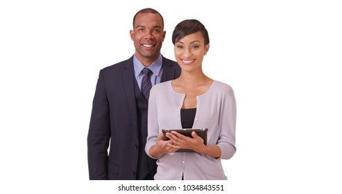African American man and woman posing for a portrait on a white background