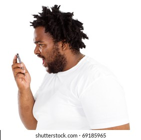 african american man Yelling Into Phone