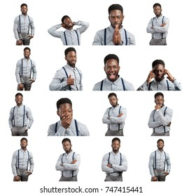 African american man's expressions collage