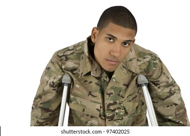African American Military Man on Crutches