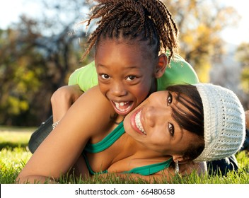 African American mother and child having fun
