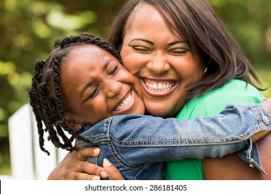African American mother and daughter.