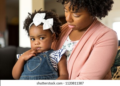 African American mother disdisciplin parenting her young child