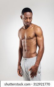 African american muscular man after sports training