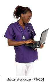 African American nurse with stethoscope and a notebook computer